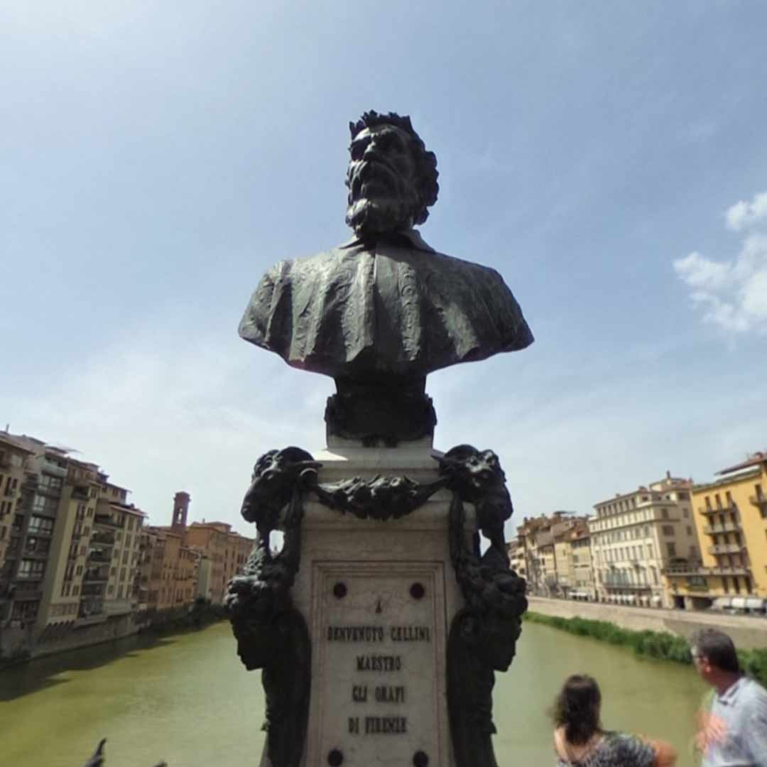 Pont Vecchio & Bust of Benvenuto Cellini