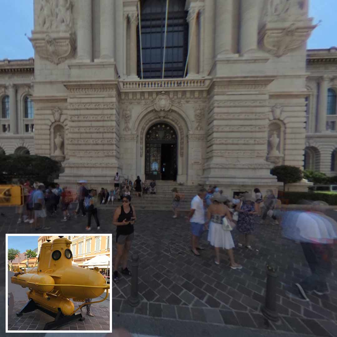 submarine of Jacques Cousteau outside of the Oceanographic Museum in Monaco